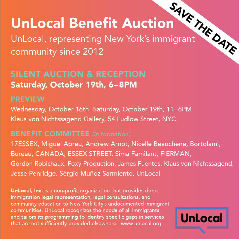 UnLocal 2019 Benefit Auction Save the Date graphic