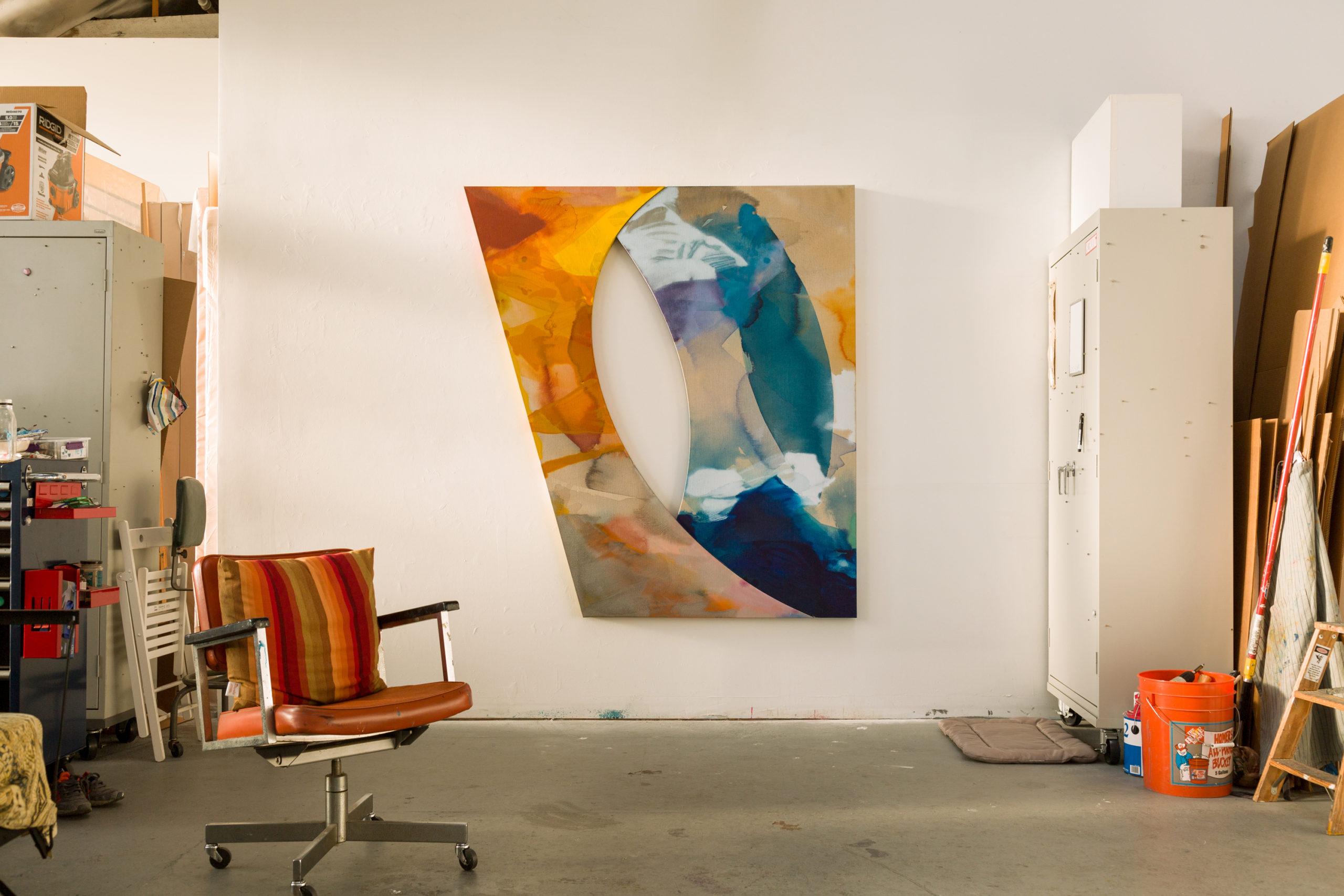 Pamela Jorden, studio installation of Eye, 2020 Acrylic and oil on linen, 72 × 65 3/8 inches (182.88 × 166.05 cm)